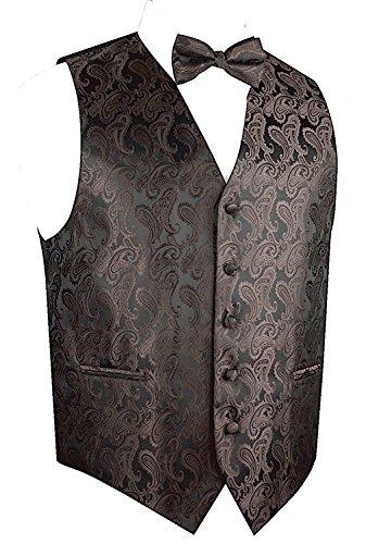 Men's Paisley Vest Bow Tie Set-Brown/Black-XS ()