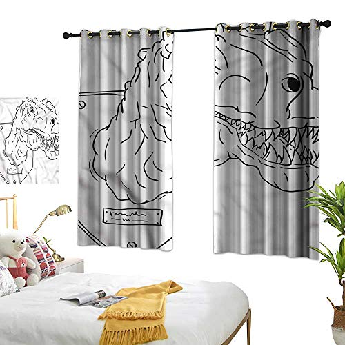 Davishouse Thermal Insulated Drapes for Kitchen/Bedroom Teeth Trophy Head Sketch Darkening and Thermal Insulating 55