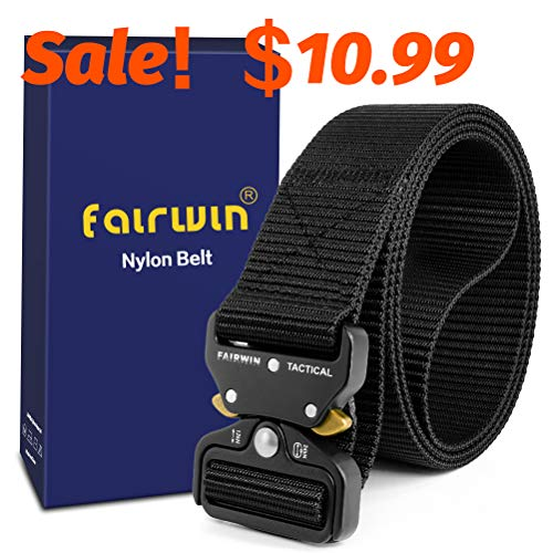 Fairwin Tactical Belt, Military Style Webbing Riggers Web Belt with Heavy-Duty Quick-Release Metal Buckle (M 36