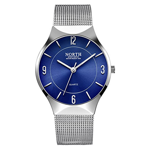 Ultra Thin Mens Watches, Fashion Waterproof Wrist Watch for Men, Analog Wristwatch with Silver Mesh Band (Silver Mens Fashion)
