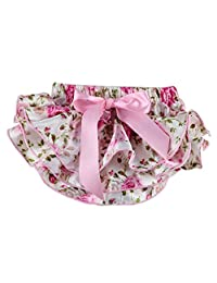 Wennikids Baby-girls Newborn Pretty Pink Floral Satin Baby Bloomers