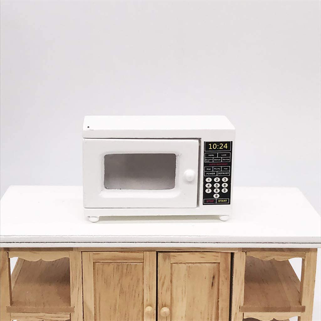 1:12 Dollhouse Miniature Furniture Room Wooden Furniture Microwave Oven White
