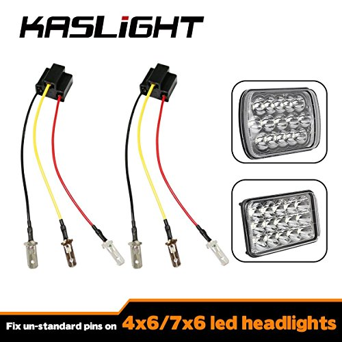 KASLIGHT H4 Harness - Pair H4 Socket H4 to 3 Pin Adapter H4 9003 HB2 Harness H4 Headlight Harness H4 Wiring Harness, Fix Un-standard Pins on H4 Headlamps, like 7x6 5x7 4656 H4656 4x6 Led Headlights (Like Led)