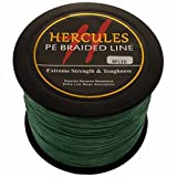 Hercules 1000m 1094yds Green 10lbs-300lbs Pe Dyneema Braided Fishing Line 8 Strands (150lb/68kg 0.62mm) For Sale