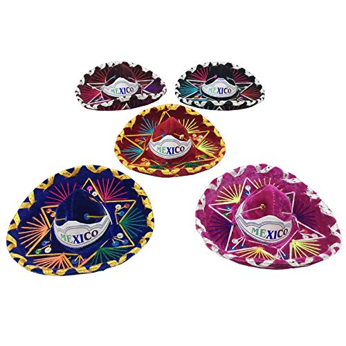 Sombrero Charro (5 Pack Mini Mexican Sombreros, Assorted Colors Mariachi Hats Used as Fiesta Mexicana Decoration Supplies, Charro Hats Made of Colored Threads, Suede / Gamuza and Sequins / Lentejuelas.)