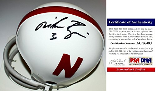 Mike Rozier Signed - Autographed Nebraska Cornhuskers THROWBACK Mini Helmet with 2 bar face mask - Certificate of Authenticity (COA) - PSA/DNA Certified