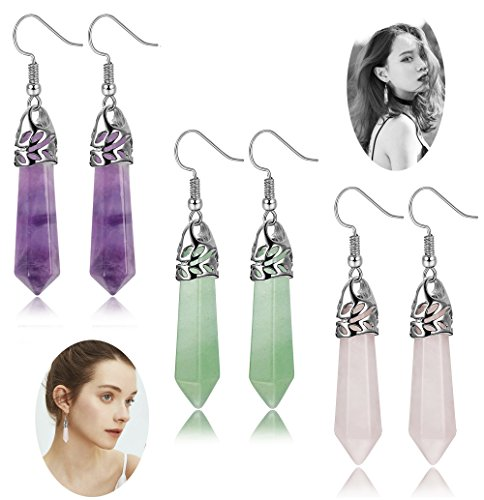 (FIBO STEEL Quartz Stone Dangle Earrings for Women Girls Healing Chakra Gemstone Earring)
