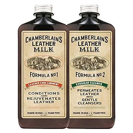 Chamberlains Leather Milk - Set de acondicionador y Limpiador de Cuero Naturales - No. 1 y 2 - con 2 Almohadillas de restauración - 0.18 L