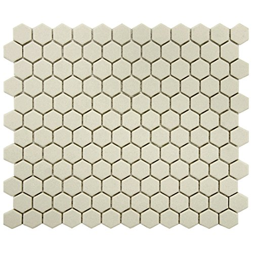 Unglazed Porcelain Tile - SomerTile FXLGHWT Hex Porcelain Floor and Wall Tile, 10.25  x 12 - Inch,  Antique White