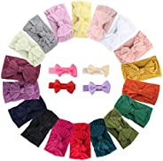 Makone Baby Headband with Bows 22PCS Nylon Hairbands Handmade Bows for Baby Girls Soft Head Wraps Child Hair A
