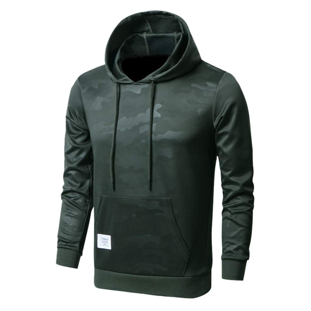 ✦HebeTop✦ Men's Solid Casual Hoodie Sweatshirts Sports Pullover Soft Hooded Army Green by HebeTop➟Men's Clothing