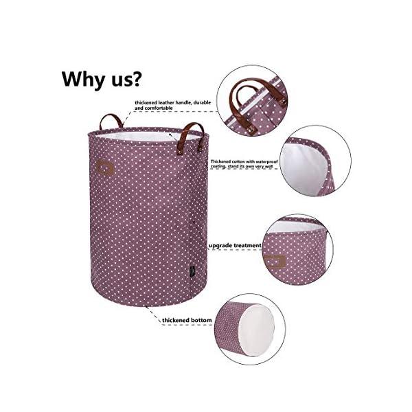 51qNX7SbkQL DOKEHOM 19-Inches Verdickte Faltbare Runde Lagerung Wäschekörbe, Baumwolle (Violett, L) EINWEG