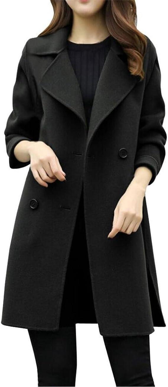 FRAUIT Elegante Mantel Winter Damen Lang Lose Mit Kapuze