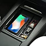 BMZX Wireless Charger Car Center Console Organizer Armrest Storage Box Holder Container Glove Pallet Tray Built-in Qi-Certified Wireless Charging with USB Car Charger for Tesla Model X Model S