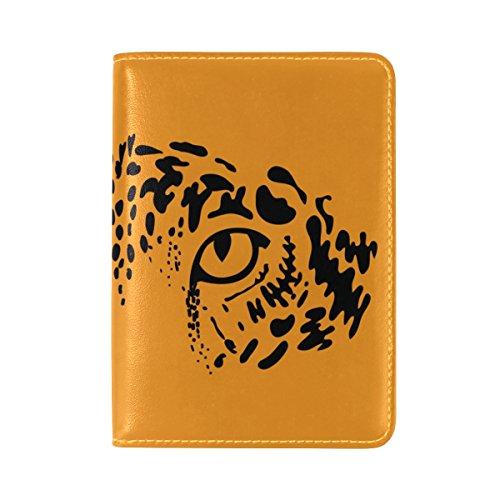 COOSUN Eyes Of Leopard Jaguar auf orangefarbenem Hintergrund Leder Reisepass Hülle für Travel One Pocket