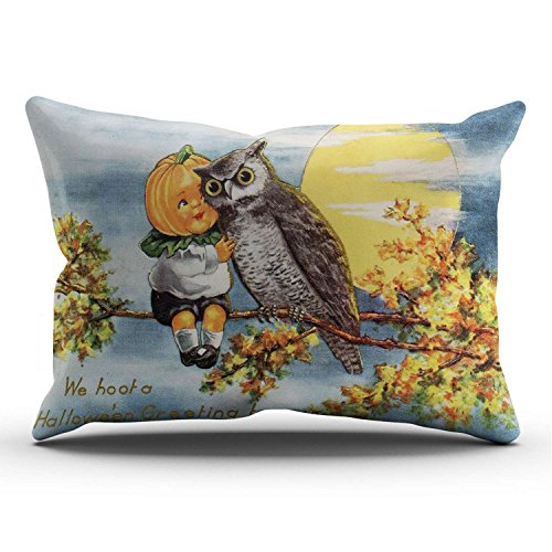 Hoooottle Custom Beauty Design Retro Vintage Halloween Pumpkin Head Boy Owl Friend Moon Night Lumbar Pillowcase Rectangle Zippered One Side Printed 12x24 Inches Throw Pillow Case Cushion Cover