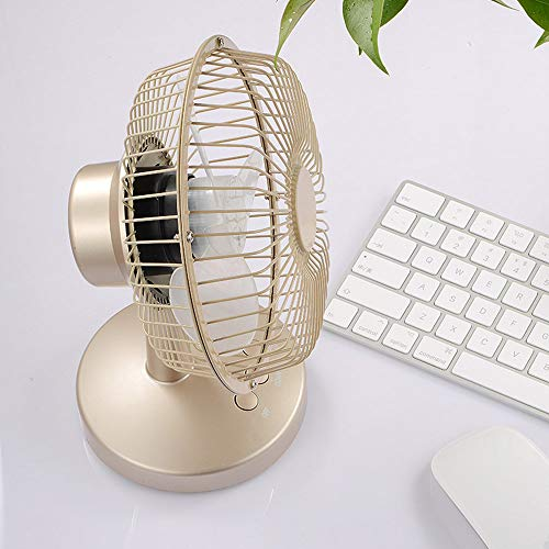 USB fan, small and beautiful ultra-quiet table fan, 2 speed wind portable manual adjustment angle energy-saving fan, suitable for bedroom/office/outdoor,Gold
