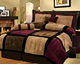 Uwant Burgundy or White + Brown and Black Suede Patchwork Comforter Set/Bed-In-A-Bag