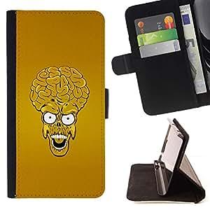 Momo Phone Case / Flip Funda de Cuero Case Cover - Extranjero Monster Head Skull Big Brain Arte amarillo - Samsung ALPHA G850