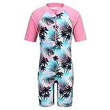 TFJH E Girls Swimsuit Beachwear UPF 50+ UV One Piece Green Pink 8A