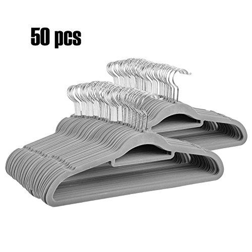 Price 12 Pull Bows (Binxin Velvet Hangers (Pack of 50) Heavy Duty - Non Slip - Velvet Suit Hangers with Tie Bar - 360 Degree Swivel Hook & Space Saving Design - Premium & Durable Quality ! (Grey))