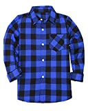 SANGTREE BOY Boys Long Sleeves Button Down Check Plaid Woven Shirt Tops Blouse, Blue Black, Age 2T-3T (2-3 Years) = Tag 100