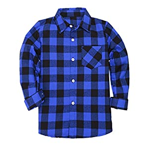 Boys Long Sleeves Button Down Check Plaid Woven Shirt Tops Blouse, Blue Black, Age 8T-9T (8-9 Years) = Tag 150