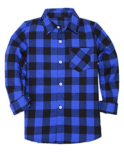 Boys Long Sleeves Button Down Check Plaid Woven Shirt Tops Blouse, Blue Black, Age 5T-6T (5-6 Years) = Tag 130