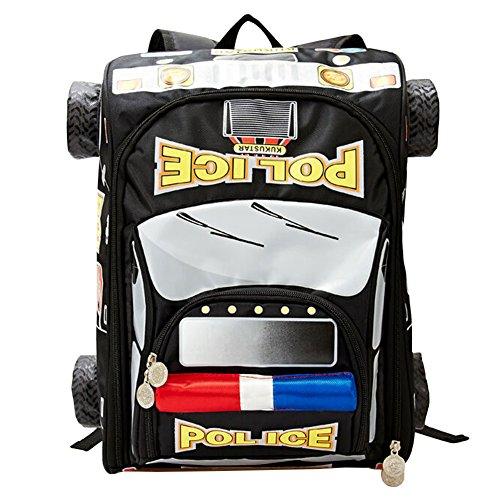 Price comparison product image Moonwind Cool Kids Backpack Boys Girls Waterproof School Book Bag for Elementary (Black Police Car)