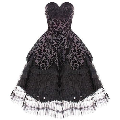 Hell Bunny lavintage Noir Gothique Steampunk victorien Mourning robe de mariage avec exclusif blacka Plus Carte
