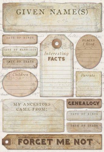 Karen Foster Design Acid and Lignin Free Scrapbooking Sticker Sheet, Ancestry Journaling