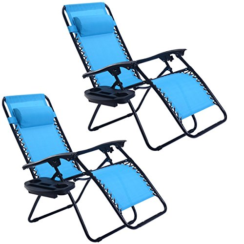 Goplus Zero Gravity Chairs, Lounge Patio, Folding Recliner, Outdoor Yard Beach with Cup Holder, Light Blue, 2 Piece - Beach Recliner