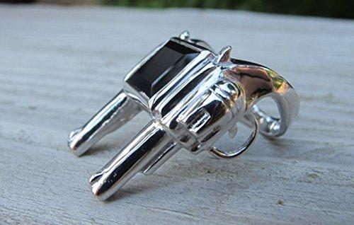 (Double Gun Men's Ring Unisex Gun Sterling Silver Revolver Rifle Statement Ring Size 7)