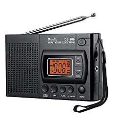 DreamSky Portable AM/FM Radio Alarm Clock, Clear Loudspeaker, Earphone Jack, 12 /24H Time Display Backlight, Ascending Alarms, Battery Operated, Sleep Timer AA Battery Included.