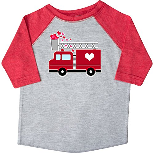Inktastic Valentine/'s Day Red Firetruck With Pink Hearts Youth T-Shirt Kids Love