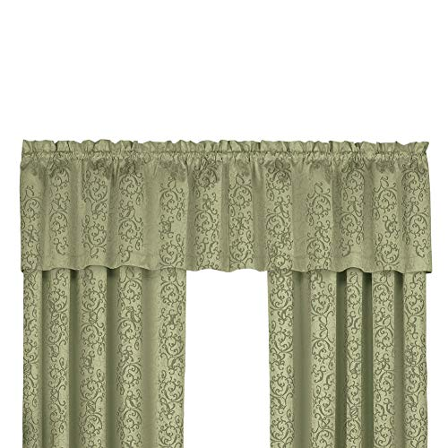 Collections Etc Scroll Pattern Rod Pocket Insulated Thermal Black Out Window Curtain Valance, Sage ()