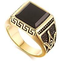 LALISA Gold Men Masonic Rings Black Stone Wedding Bands Freemasonry Jewelry Ring (14)