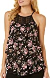 Almost Famous Juniors Tiered Floral Lace Tank Top Large Black/Pink/White