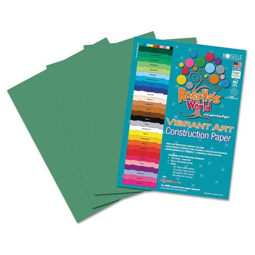 Roselle Vibrant Construction Paper, 50 count, 9 x12 Inches, Holiday Green (CON7891250)