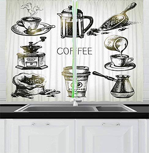 LQQBSTORAGE Coffee Kitchen Curtains,Brewing Equipment Doodle Sketch Grinder French Press Plastic Cup Scoop Vintage Sliding Glass Door Drapes 2 Panel Set W55 x L63/Pair Black Yellow