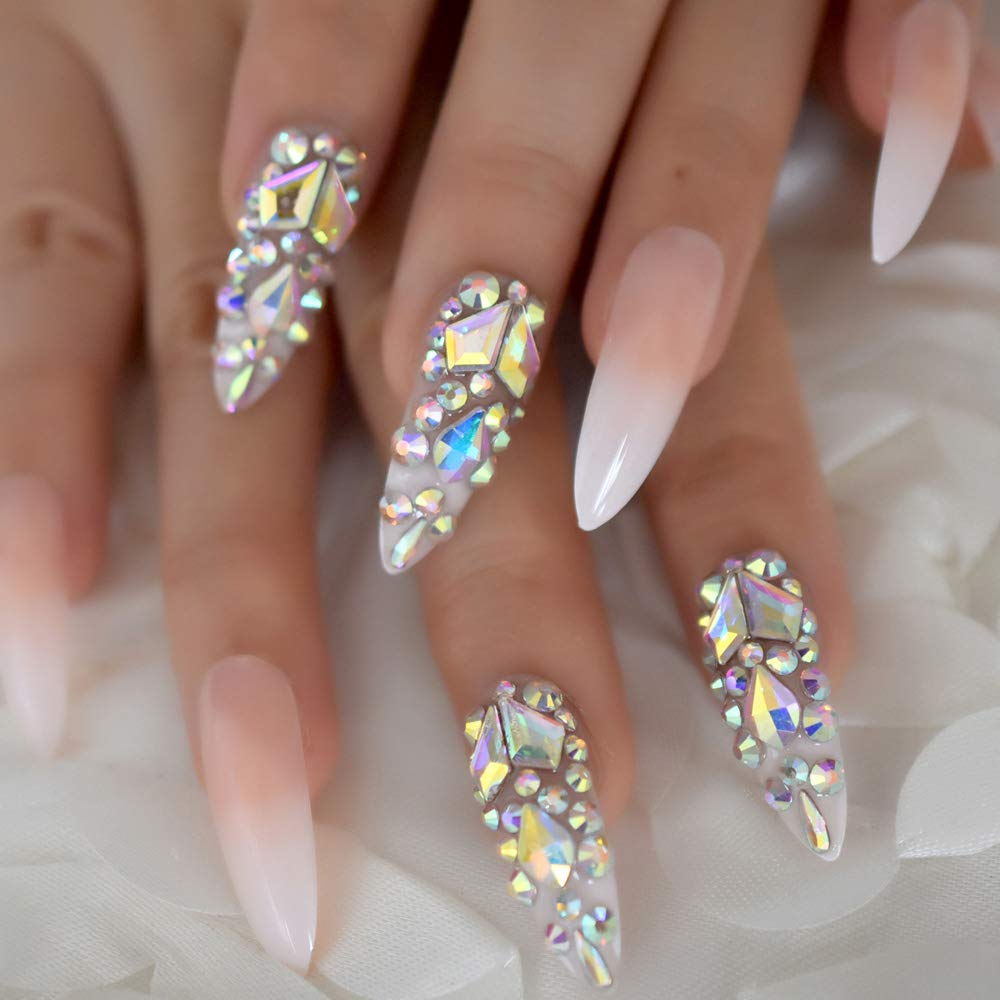 Luxury Fake Nails Designer Extra Long Ombre French Jewelry Pre-designed Nails Natural Stiletto AB Stones Decoration Tips by EchiQ