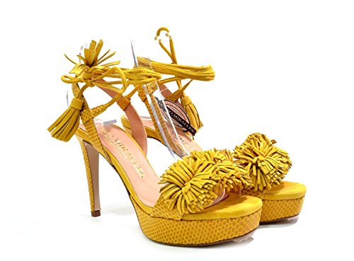 EU PEDRO MIRALLES 45 Women's High Suede Leather L Strappy 9416 Mustard 37 Heel Sandals Mostaza Fringe OUO1Rwqxr