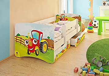 Kinderbett junge traktor  BEST FOR KIDS KINDERBETT MIT RAUSFALLSCHUTZ MIT 2 SCHUBLADEN UND ...