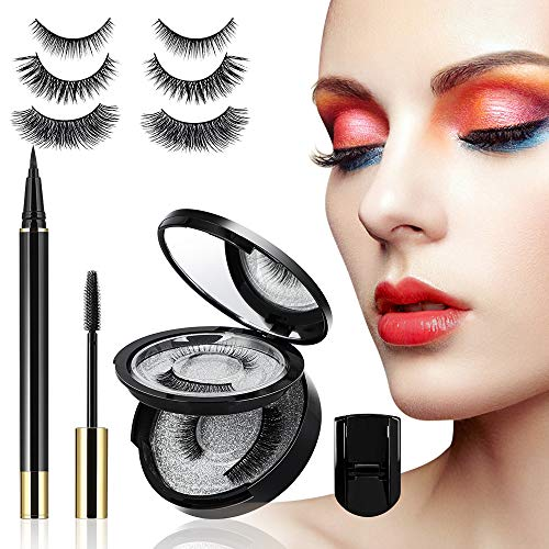 Magic False Eyelashes, Reusable False Eye Lashes Kit with 3 Pairs 3D False Lashes, Invisible Magnetic Liquid Eyeliner, Eyelash Curler & Waterproof Mascara - NO Magnet NO Glue Fake Eyelashes Set