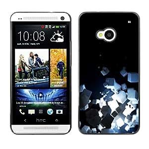 TopCaseStore / la caja del caucho duro de la cubierta de protección de la piel - Light Bright Black Minimalist Cubes - HTC One M7