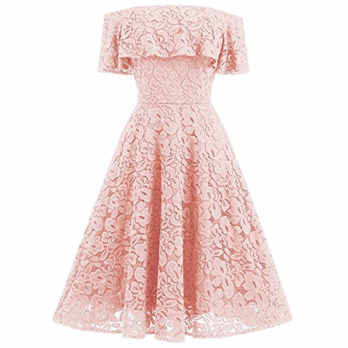 Samtree Women's Off Shoulder Cocktail Wedding Party Formal Floral Lace Swing Dress(Asia M,Pink Apricot)