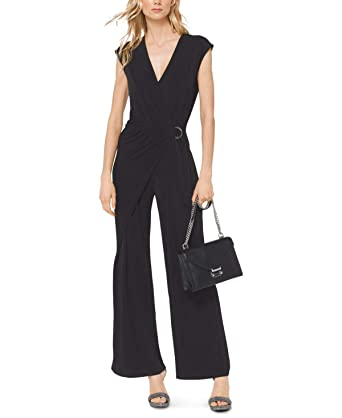 1a362a058c70 Image Unavailable. Image not available for. Color  Michael Kors Womens  Wrap-Front Jumpsuit ...