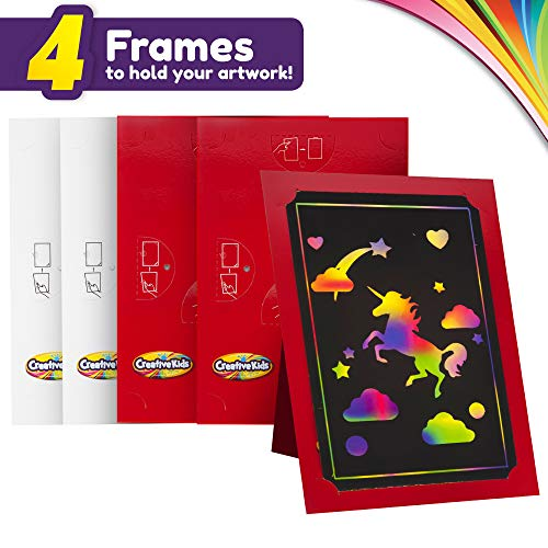 Creative Kids Scratch Paper Arts and Crafts Kit for Kids Gifts Ages 6-12 – Scratchboard Stylus Frames – Rainbow Unicorn…