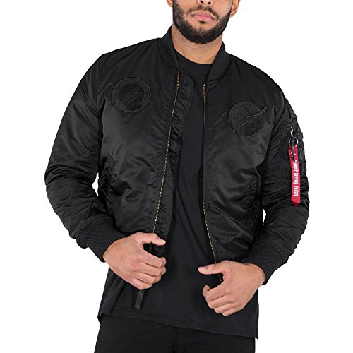 All Black de NASA Alpha Industries 1 chaqueta VF MA Hombre Logo bombardero Verde xfP70fq