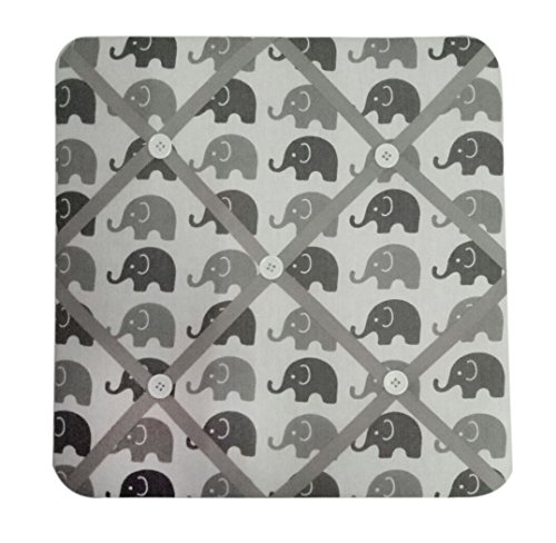 Bacati Elephants Unisex Fabric Memory/Memo Photo Bulletin Board, Grey ()